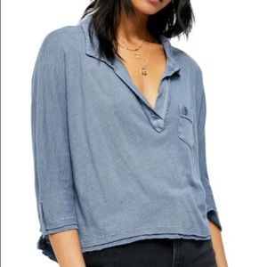 NWT Free People | Cool Girl Linen Henley Top sz M